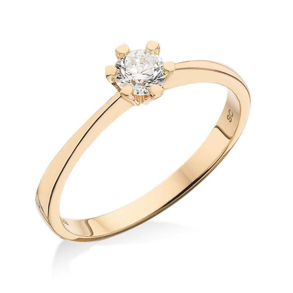 8 Karat Guld Ring fra Scrouples med Brillant 0,10 Carat W/P1