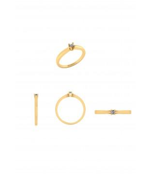 Henrik Ørsnes Design 14 Karat Guld Ring med Brillant 0,05 Carat W/SI