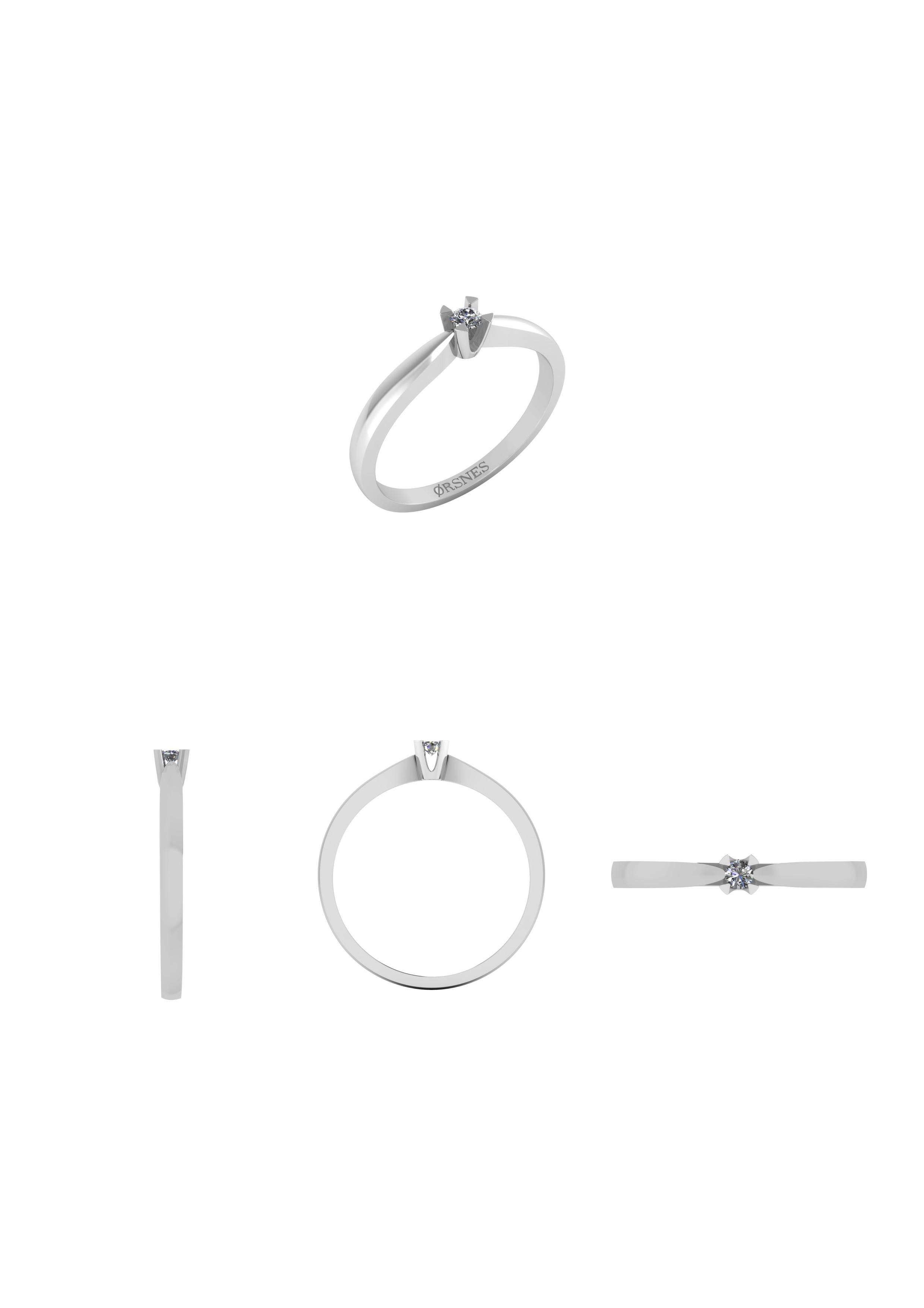 Henrik Ørsnes Design Ring i 14 Karat Hvidguld med Diamant 0,05 Carat W/SI