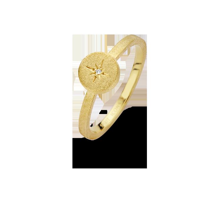 North Star Forgyldt Sølv Ring fra Spirit Icons med Diamant 0,01 Carat