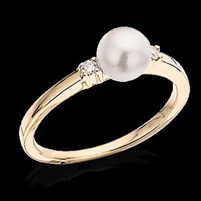 14 Karat Guld Ring fra Scrouples med Perle og Diamanter 0,04 Carat W/SI