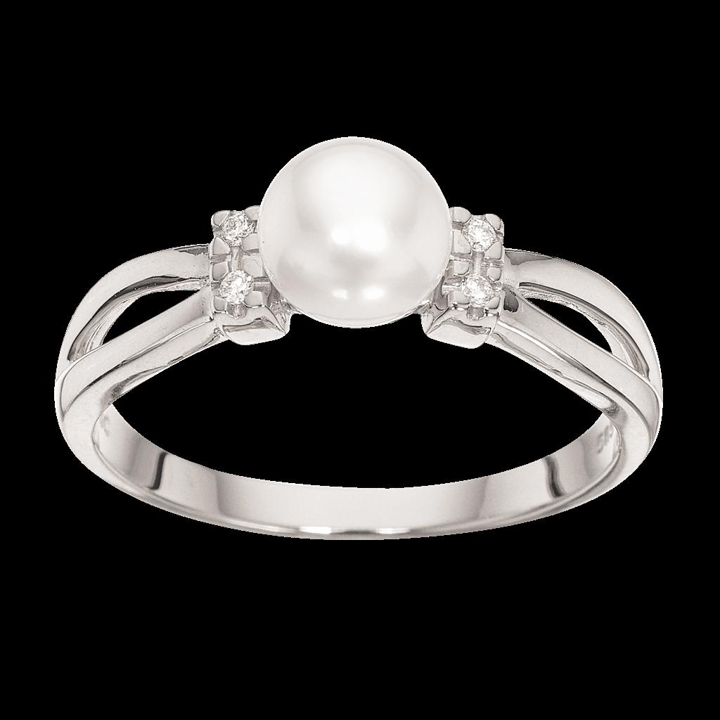 Scrouples 14 Karat Guld Ring med Ferskvandsperle og Brillant 0,04 Carat W/SI