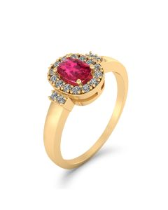 14 Karat Guld Ring med Rubin og Diamanter 0,33 Carat W/SI