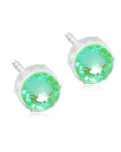 Blomdahl Shiny Green Medicinsk Plastik Ørestikker med Krystalsten