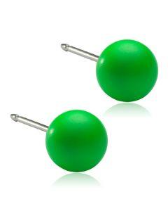 Blomdahl Electric Green Ørestikker i Titanium med Swarovski Perler