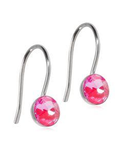 Blomdahl Pendant Bezel Shiny Rose Titanium Øreringe med Krystalsten