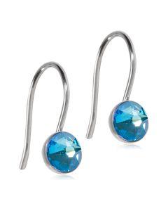 Blomdahl Pendant Bezel Shiny Blue Titanium Øreringe med Krystalsten