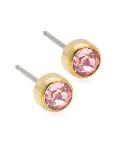 Bezel Light Rose Titanium Øreringe fra Blomdahl med Krystalsten