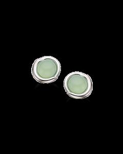 Scrouples Rhodineret Sølv Øreringe med Grøn Milky Kvarts