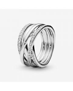 Pandora Sparkling And Polished Lines Sterling Sølv Ring
