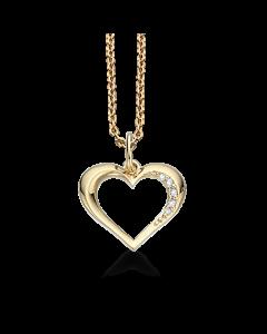 Hjerte 14 Karat Guld Vedhæng fra Scrouples med Brillanter 0,035 Carat W/SI