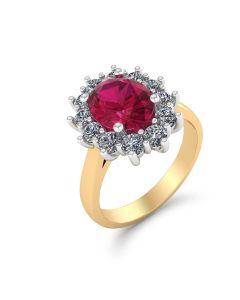 Roset 14 Karat Guld Ring med Brillanter 0,60 Carat W/SI