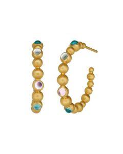 Pebbles Color Forgyldt Sølv Øreringe fra byBiehl med Farvede Krystaller