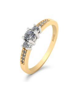 Smykkekæden Ring i 14 Karat Guld med Hvidguld og Diamanter 0,19 Carat W/SI