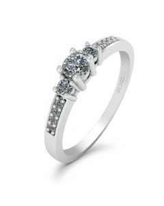 Smykkekæden 14 Karat Hvidguld Ring med Diamanter 0,19 Carat W/SI