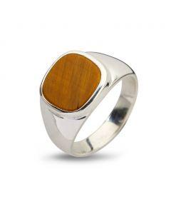 By Birdie Cushion Tigers Eye Sterling Sølv Ring med Tigerøje
