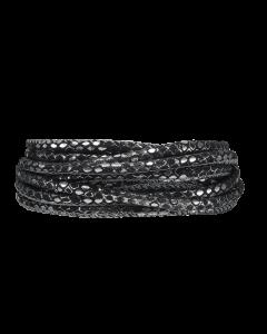 Silver Black Læder Armbånd fra Christina Watches
