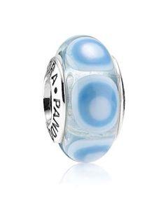 Pandora Blue Spot Sterling Sølv Charm med Murano Glas