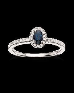 Scrouples 14 Karat Hvidguld Ring med Safir og Diamanter 0,18 Carat W/SI