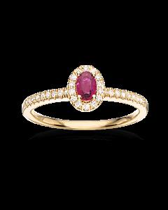 Scrouples Roset 14 Karat Guld Ring med Rubin og Brillanter 0,18 Carat W/SI