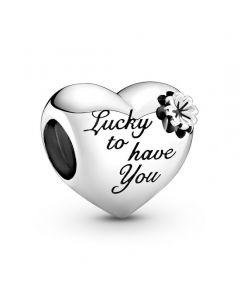 Pandora Clover & Heart Charm i Sterling Sølv 799364C00