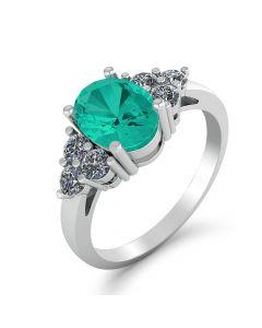 Smykkekæden 14 Karat Hvidguld Ring med Smaragd og Diamanter 0,16 Carat TW/SI