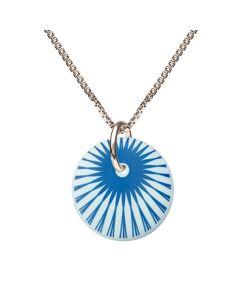 Scherning Splash Teardrop Cloud Blue Sterling Sølv Halskæde med Porcelæn
