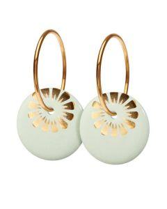 Scherning Bloom Pistachio Gold Stor Forgyldt Sølv Øreringe med Porcelæn