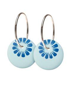 Bloom Cloud Blue Sterling Sølv Øreringe fra Scherning med Porcelæn