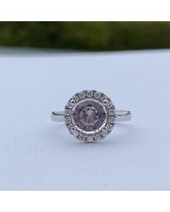 Henrik Ørsnes Design 14 Karat Hvidguld Ring med Morganit og Diamanter