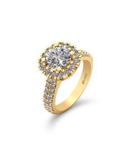14 Karat Guld Ring fra Henrik Ørsnes Design med Brillanter 1,50 Carat TW/SI