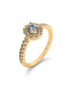 14 Karat Guld Ring fra Henrik Ørsnes Design med Diamanter 0,51 Carat W/SI