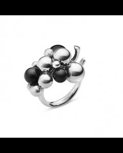 Moonlight Grapes Str. 57 Oxideret Sølv Ring fra Georg Jensen med Sort Onyx