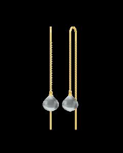 Julie Sandlau Maya Droplet Øreringe i Forgyldt Sølv med Krystaller