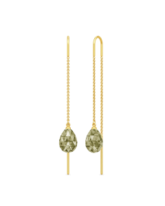 Julie Sandlau Eve Droplet Forgyldt Sølv Øreringe med Olivenfarvede Krystaller