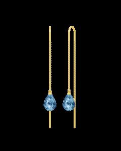Julie Sandlau Avery Droplet Forgyldt Sølv Øreringe med Blå Krystaller