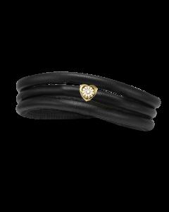 Tyndt Kræftens Bekæmpelse Læder Charm fra Christina Watches med Forgyldt Sølvcharm Og Laboratorieskabt Diamant