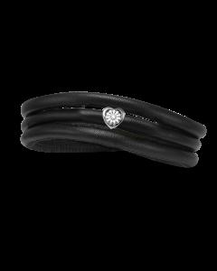 Christina Watches Tyndt Kræftens Bekæmpelse Charm i Læder med Sølvcharm Og Laboratorieskabt Diamant