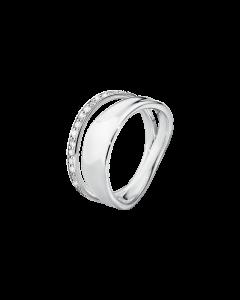 Georg Jensen Marcia Dobbelt Sterling Sølv Ring med Brillanter 0,17 Carat TW/VS