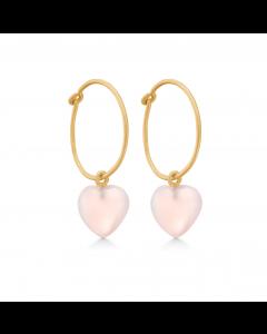 Frk Lisberg Stone Heart Øreringe i Rosaforgyldt Sølv med Rosa Calcedon