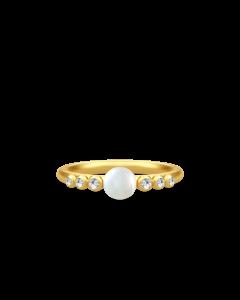 Perla Forgyldt Sølv Ring fra Julie Sandlau med Hvid Ferskvandsperle