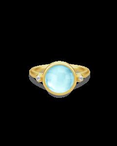 Julie Sandlau Prime Forgyldt Sølv Ring med Blå Krystal