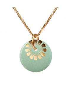 Bloom Forgyldt Sølv Halskæde fra Scherning med Aqua Gold Porcelæn