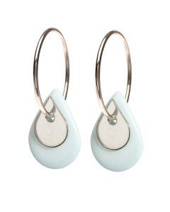 Duo Teardrop Sterling Sølv Øreringe fra Scherning med Porcelæn