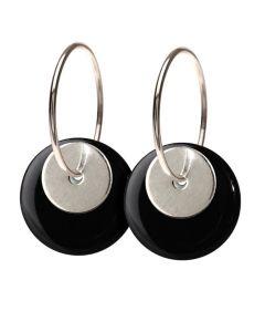 Scherning Duo Black Øreringe i Sterling Sølv med Porcelæn