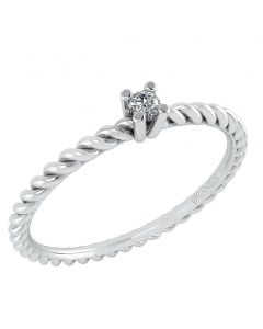 Smykkekæden Ring i 14 Karat Hvidguld med Diamant DMN0345WG