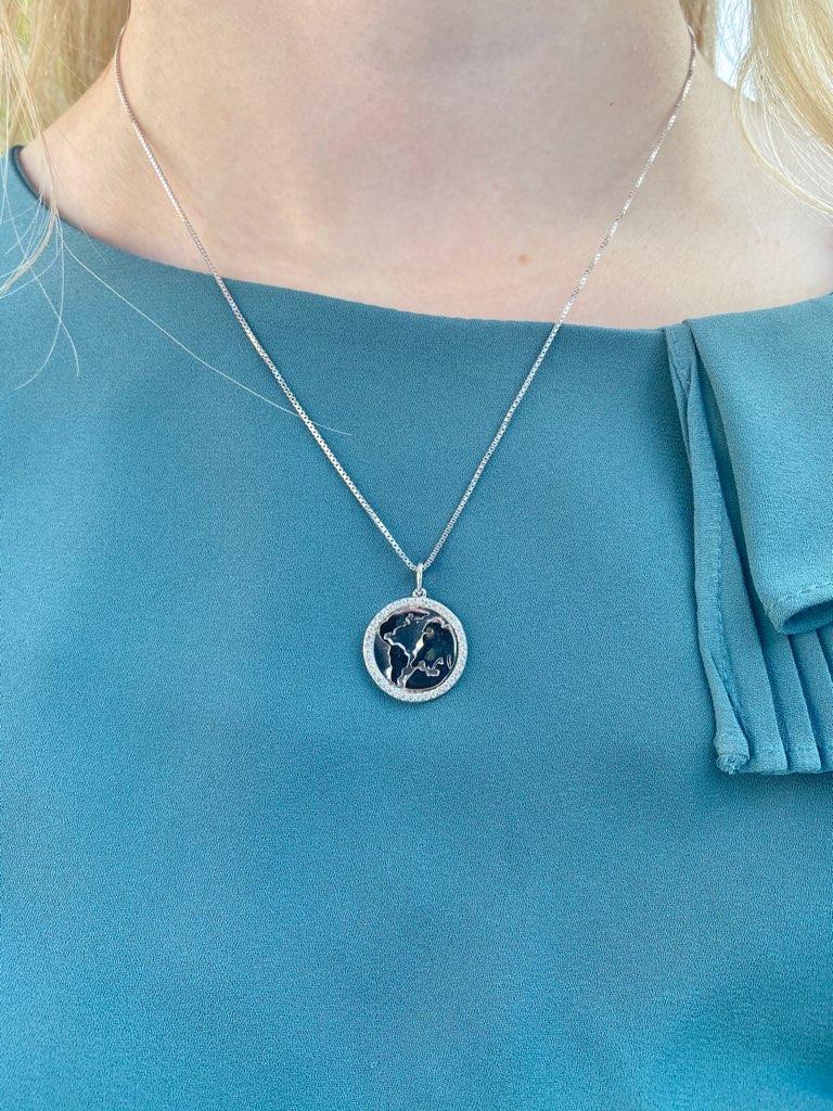 Smykkekæden Verdenskort Sterling Sølv Halskæde