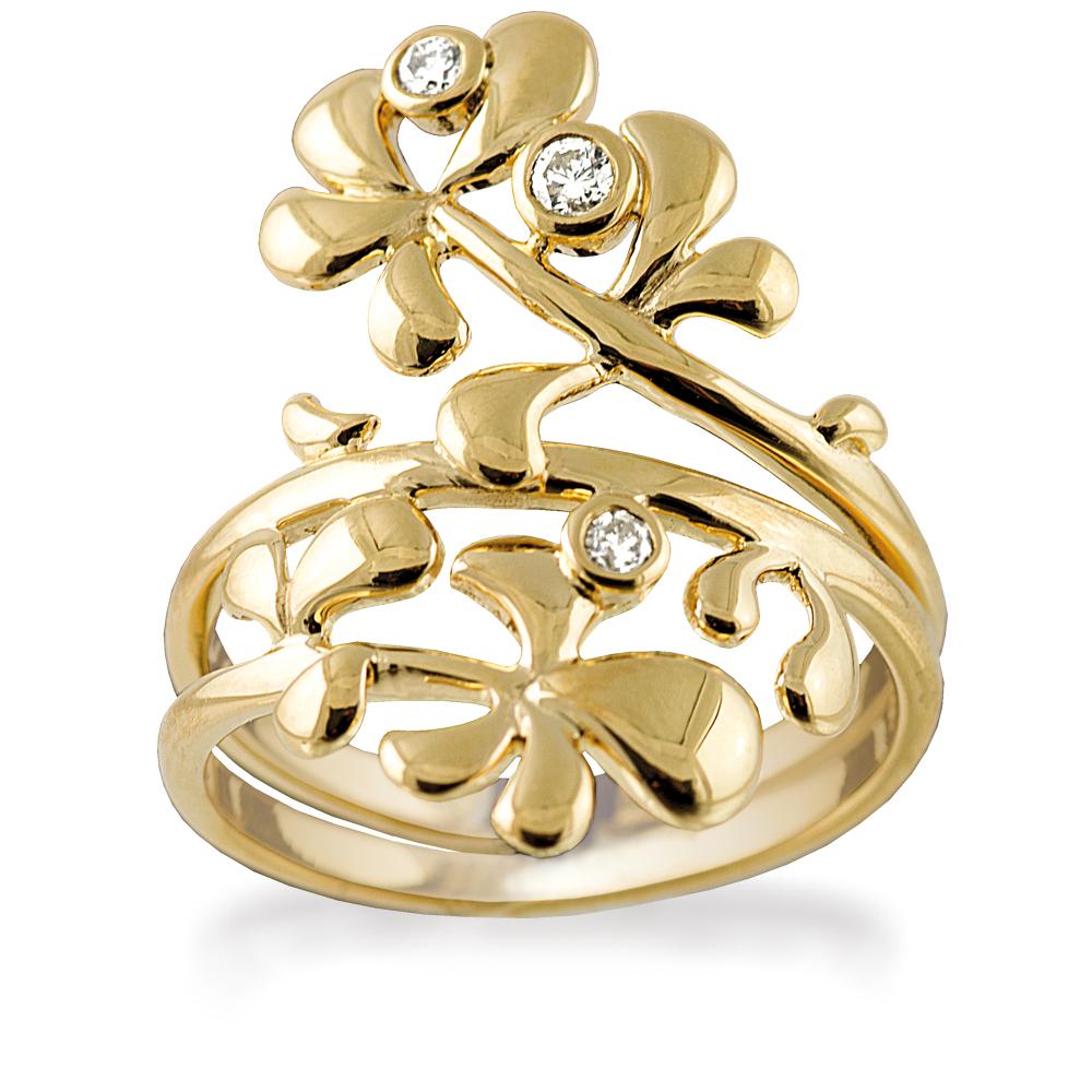 Rabinovich 14 Karat Guld Ring med Diamanter 0,16 Carat